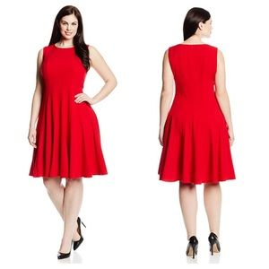 Calvin Klein red seamed sleeveless fit flare dress